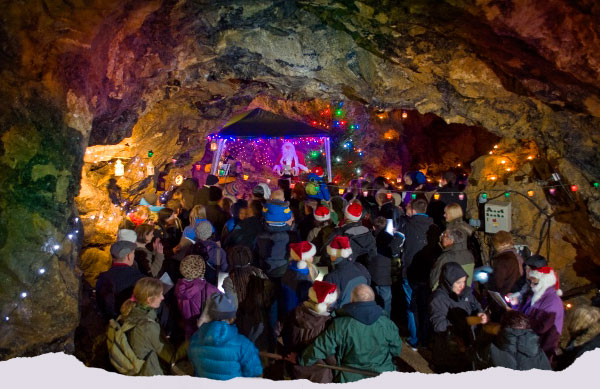 Treak Cliff Cavern by Candlelight at Chrsitmas