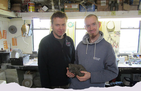 Gary Ridley and John Turner with a piece of the Lost Vein