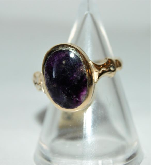 9ct gold Blue John ring R157 - size o - front 2