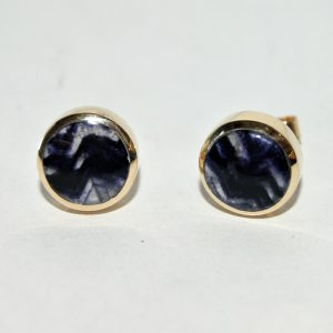 9ct gold Blue John stud earrings RPS636