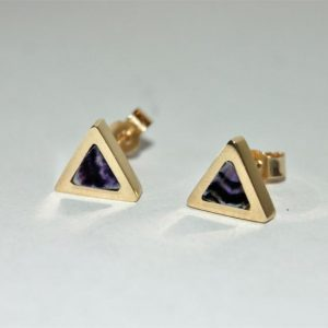 9ct gold Blue John stud earrings RPS654