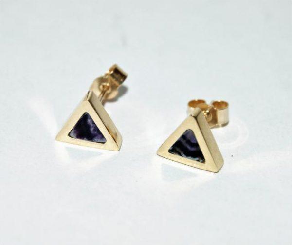 9ct gold Blue John stud earrings RPS654