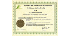 International Show Caves Association Certificate of Membership