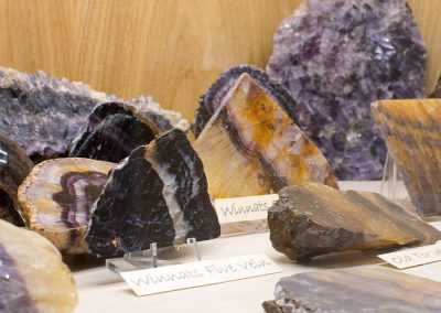 The 15 types of Blue John can be seen in the museum